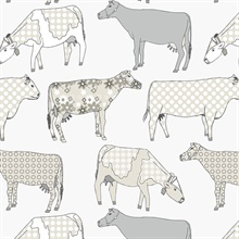 Funky Beige Moo Cows Wallpaper