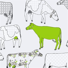 Funky Lime Green Moo Cows Wallpaper