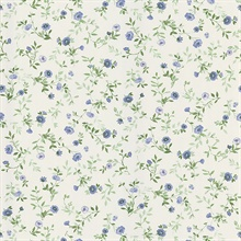 Garden Blue Wash Floral Wallpaper