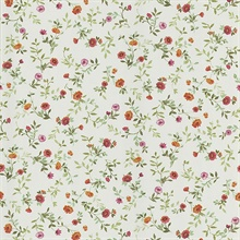 Garden Orange Wash Floral Wallpaper