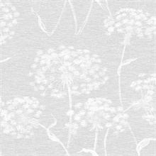 Garvey Light Grey Dandelion Wallpaper