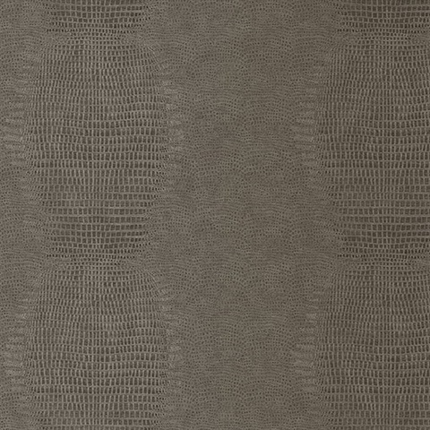 Gharial Mocha Brown Crocodile Skin Textured Wallpaper