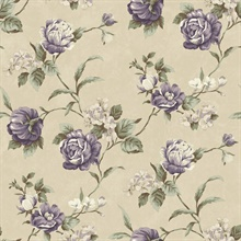 Gleason Grey Floral Rose Trail Wallpaper