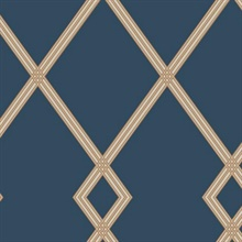 Gold & Blue Ribbon Stripe Trellis