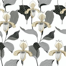 Gold & Grey Lady Slipper Floral Wallpaper
