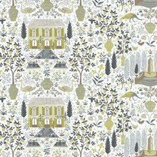 Gold & Grey Large 18th Century Farmhouse Rifle Paper Wallpaper