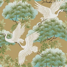 Gold Sprig & Heron Wallpaper