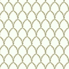 Gold & White Laurel Floral Lattice Rifle Paper Wallpaper