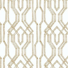 Gold & White Oriental Lattice Wallpaper