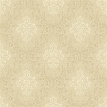Golden Wheat Damask Wallpaper