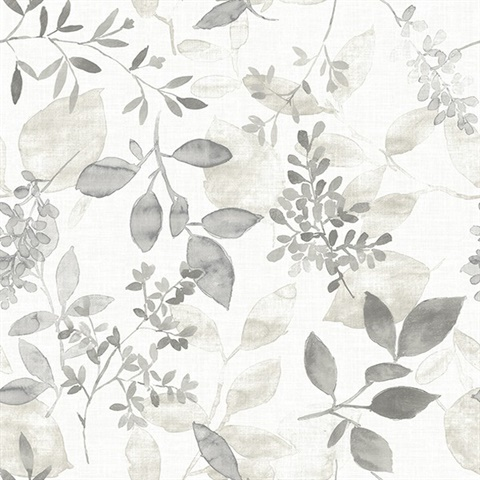 Gossamer Grey Botanical Wallpaper