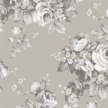 Grand Floral Black, Grey & White Wallpaper