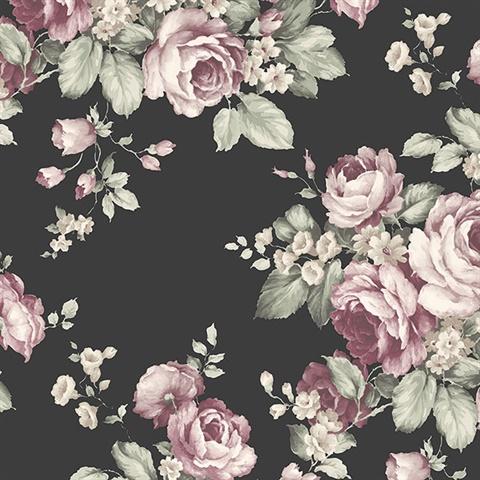Af37700 Grand Floral Black Pink Green Wallpaper