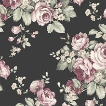 Grand Floral Black, Pink & Green Wallpaper