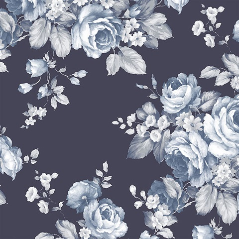 Grand Floral Blue & White Wallpaper