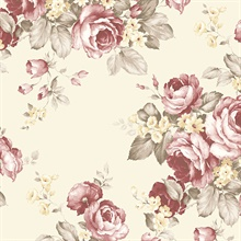 Grand Floral Red, Taupe & Cream Wallpaper