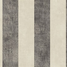 Beige and Black Vertical 2in Stripe with Texture Prepasted Wallpaper