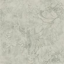 Gray Entablature Scroll Wallpaper