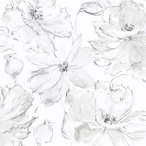 Gray Floral Dreams Wallpaper
