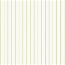 Green and White Ticking Stripe Prepasted Wallpaper