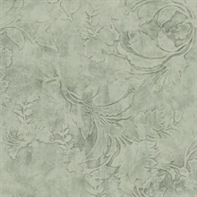 Green Entablature Scroll Wallpaper