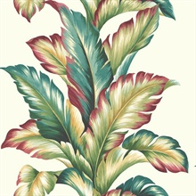 Green, Red, Turquoise, White & Yellow Commercial Big Leaf Wallpaper