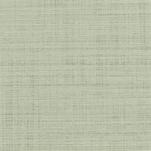 Green Spun Faux Silk Textured Linen Wallpaper