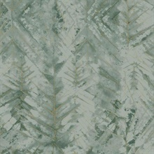 Green Textural Impremere Leaf Wallpaper