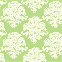 Green & White Commercial Damask Wallpaper