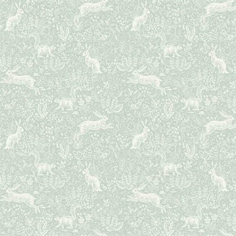 Green & White Fable Rabit & Squirrel Animal Print Rifle Paper Wallpape