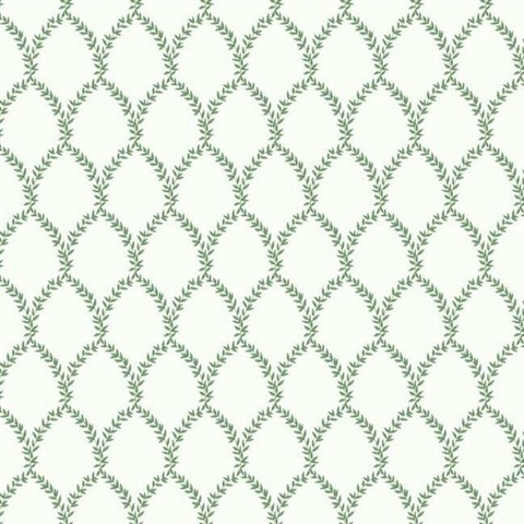 Green & White Laurel Floral Lattice Rifle Paper Wallpaper