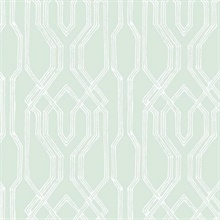 Green & White Oriental Lattice Wallpaper