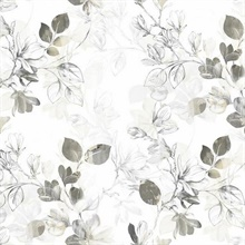 Grey Arbor Floral Vine Wallpaper