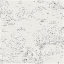 Grey & Beige Farm Pasture Toile Wallpaper