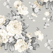 Grey & Beige Grand Floral Wallpaper