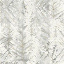 Grey & Blue Textural Impremere Leaf Wallpaper