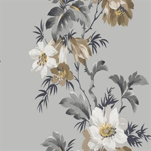 Grey & Brown Commercial Flower Stripe Wallpaper