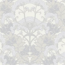 Grey & Cream Yarrow Nouveau Wallpaper