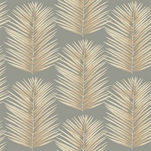 Grey & Gold Commercial Palm Leaves Wallpaper