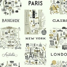 Grey & Gold Illustrated City Maps Rifle Paper Wallpaper