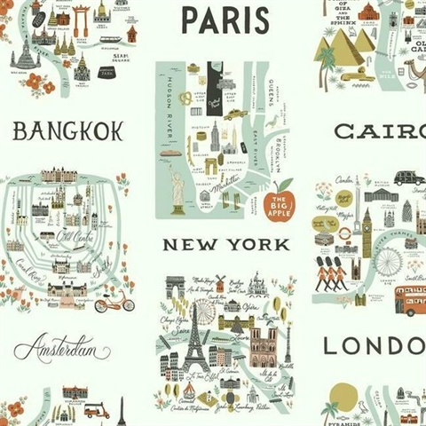 Grey & Green Illustrated City Maps Rifle Paper Wallpaper