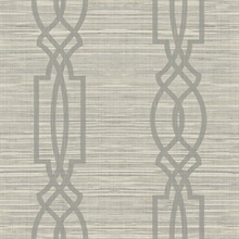 Grey Large Trellis On Faux Grasscloth With Horizontal Textile Strings