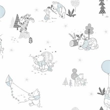 Grey & Light Blue Disney Winnie the Pooh Playmates Wallpaper