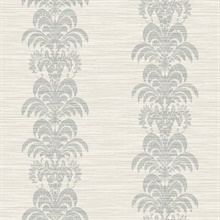 Grey Palm Frond Stripe Stringcloth Textured Wallpaper