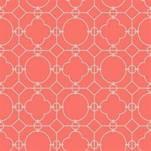 Grey & Red Commercial Lattice Wallpaper