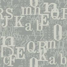 Grey & Silver Alphabet Letters Toile Wallpaper
