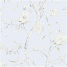 Grey & Sky Blue Southport Bird On Branches Floral Trail Wallpaper