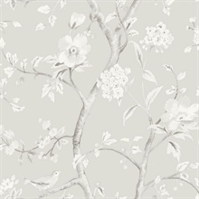 Grey Southport Bird On Branches Floral Trail Wallpaper