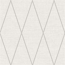 Grey & Taupe Geometric Diamond Textured Linen Background Wallpaper