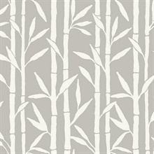 Grey Vertical Bamboo Reed Grove Wallpaper